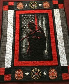 Order this limited edition Firefighter HUR2223 3D Customized Quilt CAMLI2307 Now Man Cave Quilts, Boy Quilts, Shirt Quilts, Hanging Quilts, Quilted Wall Hangings, Fireman Quilt, American Flag Quilt, Firefighter Gifts, Firefighters Girlfriend