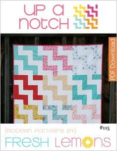 "The Up a Notch Quilt Pattern is a patchwork pattern where the blocks are accented through creative use of color. This pattern contains directions for creating a 45"" x 60"" quilt top with a solid backing.This listing is for a digital copy of the directions only (PDF).The following is included in this detailed 7 page pattern: ★ Fabric cutting tables ★ Block assembly diagrams ★ Final quilt assembly diagramThis pattern is for one person only. Please be honest ..."
