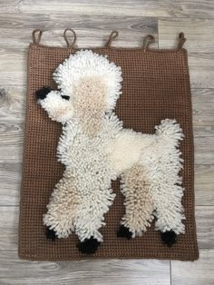 Vintage latch hook poodle wall hanging, textured rug hook, boho decor Retro Campers, Rug Texture, Vintage Fisher Price, Collectible Figurines, Rug Hooking, Boho Decor, Poodle, Ladder Decor, Christmas Stockings