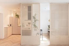 Sliding door separating the rooms. The heart of the living room. The japanese inspired sliding doors acts fully flexible as room divider. When having guest it can be fully closed and for full privacy a curtain is available. Japanese Sliding Doors, Diy Sliding Door, Modern Sliding Doors, Diy Door, Sliding Panels, Living Room Wood Floor, Living Room Kitchen, Kitchen Wood, Kitchen Small