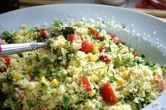 Simply Scratch » Couscous Summer Salad Tossed in a Lime Vinaigrette - this would be great with orzo