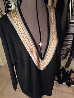 1990's Vintage Deep V-Neck Liz Claiborne Collection Sweater in Black Silver & Gold SZ M  by KristenAshleys on Etsy