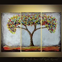 Tree painting original acrylic triptych on by danlyespaintings, $124.99
