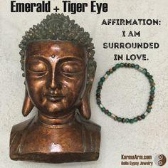 AFFIRMATION: I am surrounded in love.  ABUNDANCE OF LOVE: Emerald + Tiger's Eye Yoga Mala Bracelet