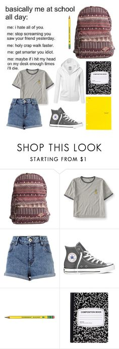 """""""Almost done with school🙌🏻🙏🏻"""" by char-pisces ❤ liked on Polyvore featuring Billabong, Aéropostale, River Island and Converse"""