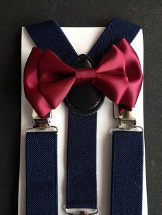 Bowtie & Suspender Set Burgundy Navy Suspenders by BePrettyBeBold