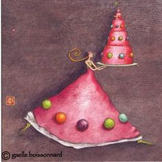 Gaelle Boissonnard card French tall slim girl carrying 5 layer birthday cake pink and purple blank inside square Marie Cardouat, Art Fantaisiste, Art Carte, Doodle Sketch, 3d Prints, Happy Birthday Cards, Birthday Cake, Illustration Artists, Whimsical Art