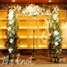 knot.com - A Formal Rustic Wedding in Warren, NJ - Floral Ceremony Arbor