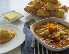 Winter warming soup and cheese puffs