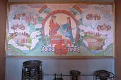 A painting of traditional Mongolian life in one of the buildings of the 18th century home of the Tsetsen Khaan, a Mongol prince who governed most of eastern Mongolia during the Manchu reign; it is now the Ethnography Museum of Öndörkhaan.
