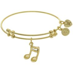7.25 Adjustable Yellow Brass Music Sign Charm Angelica Bangle Bracelet (1,400 PHP) ❤ liked on Polyvore featuring jewelry, bracelets, yellow bangles, adjustable bangle bracelet, brass bangles, bangle jewelry and brass jewelry