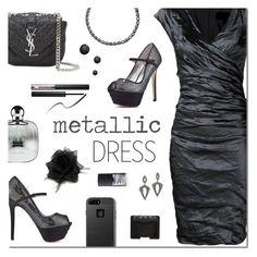 """Heavy Metal: METALLIC DRESS"" by sjkdesign ❤ liked on Polyvore featuring Nicole Miller, Bebe, Yves Saint Laurent, Kate Spade, BaubleBar, Urban Decay, Armani Beauty, NARS Cosmetics, black and metallic"