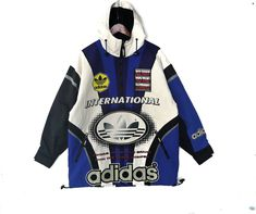 c8929289 Adidas Vintage 90s Adidas big logo spellout jacket size L // not Nike hoodie  Champion