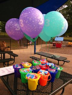 Exactly what I want for the end of the year party - buckets and shovels, bubbles, sidewalk chalk, sunglasses, water guns, beach balls, capri suns or kool aid packets, candy, sunglasses, balloons......all kinds of good stuff