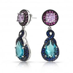 Love the color combination !!! Bling Jewelry Blue Topaz Amethyst Color CZ Teardrop Earrings Vintage Style