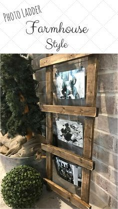 This ladder photo holder is definitely a fun and unique piece that will look great in my Farmhouse!. It would be perfect to set against a wall on a shelf or side table, but it also comes ready to hang with hanging hardware on the back. #farmhouse #farmhou