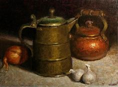 Still life with copper tea pot - Original Fine Art for Sale - © Natalia Clarke