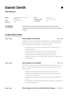 Free Office Manager Resume Sample, Template, Example, CV, Formal, Design,