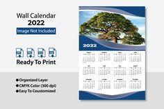 2022 Wall Calendar / Template Planer Table Calendar, Office Calendar, Business Calendar, Desk Calendars, Wall Calendar Design, Creative Calendar, Print Templates, Paper Size, Creative Business