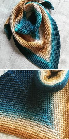 Waffle Shawl by Anna Stasiak Structural Waffle Stitch Free Resources and Patterns. Stunning combination of colors in this ombre yarn makes the shawl look exceptional,. Shawl Patterns, Easy Crochet Patterns, Crochet Stitches, Free Crochet, Knitting Patterns, Free Knitting, Crochet Shawls And Wraps, Crochet Scarves, Crochet Clothes