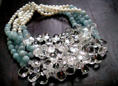 quartz aquamarine pearl bib necklace by rockedjewelry