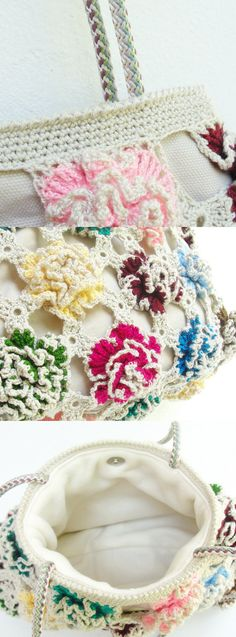 Single color over printed fabric would be pretty...Crochetted Bamboo Flower Bag