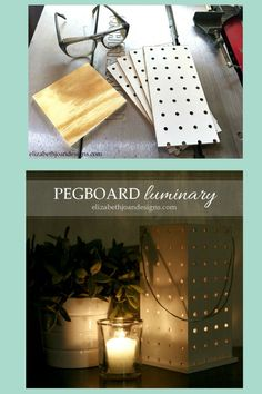 Create an inexpensive luminary with pegboard and wood.