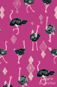 Ostrich and aztec print, pattern design, safari animals, bird fabric  YingChen's Portfolio - Portfolio