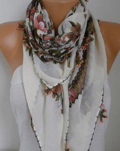 Spring Floral Scarf Oya Yemeni Cotton Cowl Shawl Mom by fatwoman