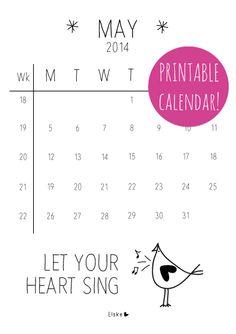 May - printable calendar | Elske | www.elskeleenstra.nl