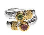 Sterling silver with peridot and tourmaline gemstones wrap ring - wrap statement ring made in Greece