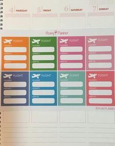 Flight Travel Planner Stickers Erin Condren Kikki by PeonyPlanner