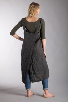 Linen Apron Dress Charcoal Grey Washed Linen Summer Pinafore Long Apron Dark Grey Natural Flax Apron Crossback Made with 100% pure Washed softened