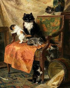 Henriette Ronner-Knip Kittens at Play 1897 Old Paintings, Animal Paintings, Beautiful Paintings, Art And Illustration, Animal Gato, Cat Character, Cat Colors, Cat Drawing, Cat Art