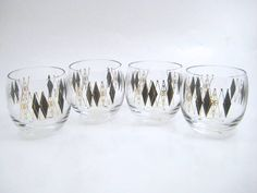 Vintage Mid-Century Barware  Roly Poly Glasses by CeeGeesAttic