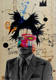 Buy Prints of samo (basquiat) ....., a Ink on Paper by LOUI JOVER from Australia. It portrays: Pop Culture/Celebrity, relevant to: jover, Mixed Media, Pop art, street art, basquiat, grafitti, collage, contemporary, drawing, ink collage, ink, gouache, pencil on inside of removed vintage book cover