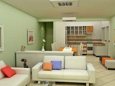decoração de casa pequena sala e cozinha