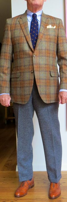 Norman Hilton, J. Press Flap pocket OCBD, Polo tie, Royal Silk square, O'Connell's Shetland wool trousers, LE OTC wool socks, AE Strands