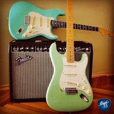 Happy Straturday! Who's celebrating? @gurkanildas is with these two sweet Strats! #straturday Learn to play guitar online at www.studio33guitarlessons.com