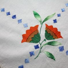 Vintage Tablecloth Hand Embroidered Rustic Primitive