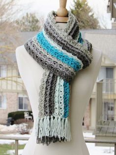 "One Skein Caron Cakes Scarf ~ BEGINNER level ~ love the color combo ~ finished size 68""l x 7.5""W - length of tassels not incl. ~ FREE - CROCHET"