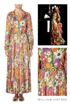 1a46c347c1e Discovered by William Vintage, this Yves Saint Laurent Spring/Summer 1972  haute couture dress features a vibrant floral pattern, shot through with  metallic ...