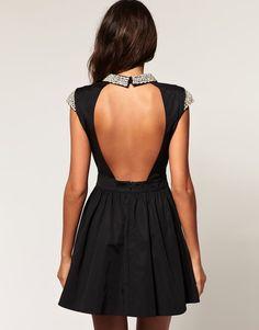 5ecbe8c998 Embellished Collar Open Back Dress Magen