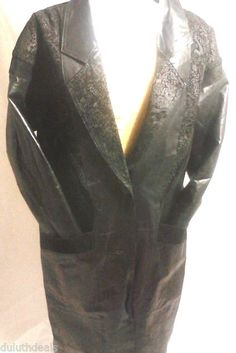 Marco Morani Women's  Black Leather Overcoat, Size Small