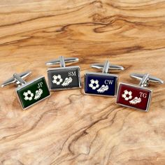 A fantastic pair of cufflinks that any football fan will love. Available in four colours; cherry red, royal blue, forest green and duck egg grey. Personalise this gift with up to 3 initials
