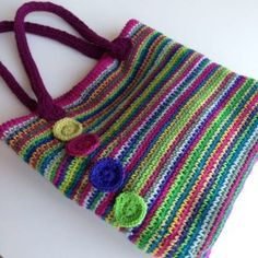 Rainbow crochet tote Stylecraft rosette position - like the colors of this