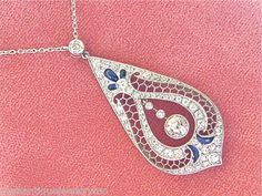 Estate Edwardian 1 80ctw OLD Mine CUT Diamond Sapphire Platinum Necklace   eBay
