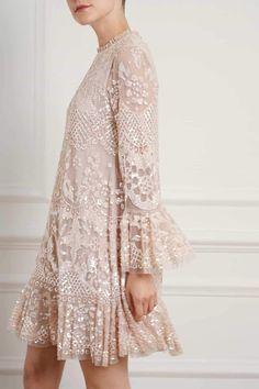 New Season Snowdrop Mini Dress in Pearl Rose/Pink. Sequin Midi Dress, Sequin Gown, Lace Dress, Dress Up, Embellished Dress, Couture Dresses, Fashion Dresses, Dress Brokat, Black Girl Fashion