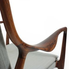 Detail of beautiful joinery on Mid Century Modern Lounge Chair designed by Finn Juhl.