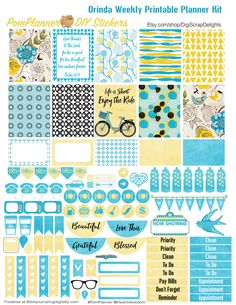 Orinda Weekly Printable Planner Kit with over 100 Stickers 2 PDFs, EC or Happy Planner sizes, Icons for Erin Condrin or Happy Planner, or Filofax, Kikki K, Plum Paper Planner, Etc.  THIS KIT IS EC SIZED 1.5X1.9 FULL AND HALF BOXES. HAPPY PLANNER SIZE is at https://www.etsy.com/listing/260885022   With this purchase you will receive two (8.5x11) printable PDF every thing you needs =to plane a week (over and over)  ~ SHEET 1: Clip Art, 10 1.5x1.9 and 5 half boxes, 7 water bottles, icons…